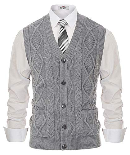 Men's Sweater Vest Cable Knitted V-Neck Cardigan Vest with Pockets Grey L