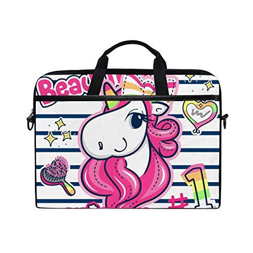 VALLER Laptop Bag, Beautiful Unicorn Girl Shoulder Messenger Bag 15 Inch Laptop Case Computer Carrying Case Business Briefcase for Women Men, Multicolor, 11x15 in