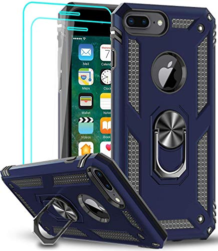 LeYi Compatible for iPhone 8 Plus Case, iPhone 7 Plus Case, iPhone 6 Plus Case with Tempered Glass Screen Protector [2Pack], Military-Grade Phone Cases with Ring Kickstand for iPhone 6s Plus, Blue