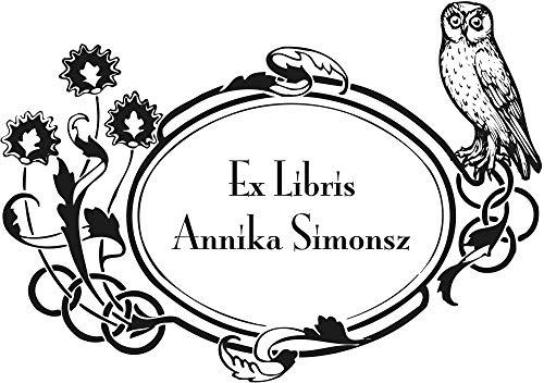 Personalisierbarer Ex Libris Stempel, Eule und Jugendstil Rahmen