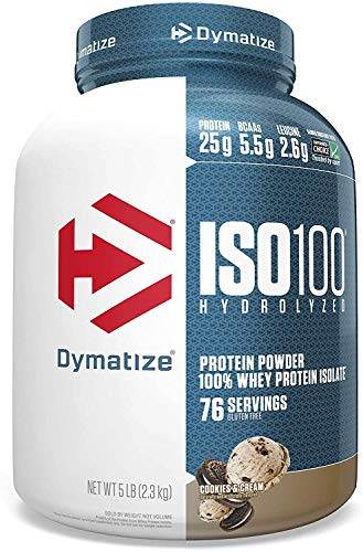 Dymatize ISO100 Hydrolyzed Protein Powder, 100% Whey Isolate Protein, 25g of Protein, 5.5g BCAAs, Gluten Free, Fast Absorbing, Easy Digesting, Cookies & Cream, 5 Pound
