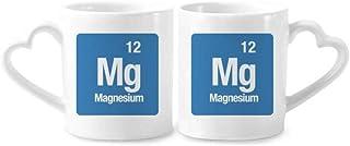 DIYthinker cerámica Copas Amante del Regalo del corazón manija 12 oz MG de magnesio Elemento químico Chem Pareja de café