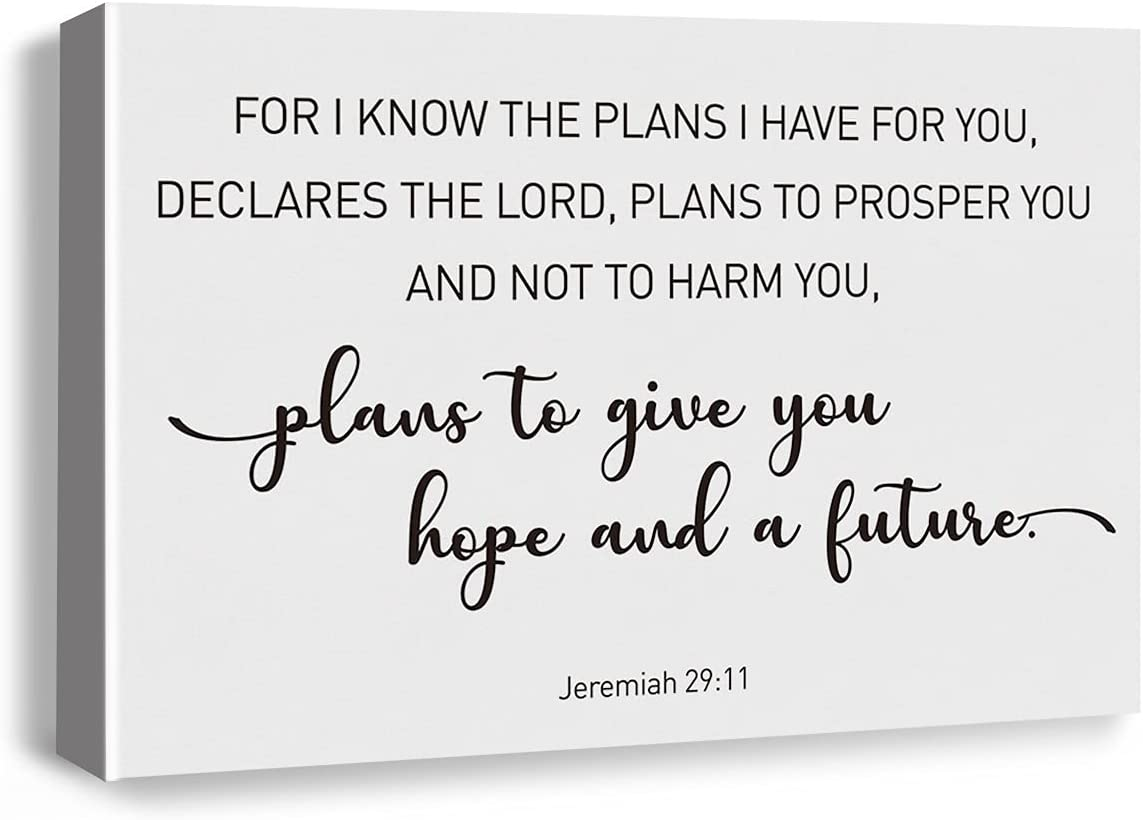 Bible Verse Art Wall Decor for I Know the Plans I Have for You to Give You Hope and a Future Jeremiah 29:11 Scripture Canvas Painting Bible Verses Prints for Home Dining Room Living Room Wall Decor Framed Artwork Christian Gifts(15x23 Inch)