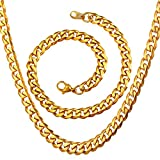 U7 Gold NK Chains Men Women 6MM Thick Miami Cuban Chain 18K Gold Plated Jewelry Necklace Bracelet Set, Length 18' 8.3'
