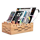 Ollieroo Bamboo Charging Station for Multiple Devices, Desktop Charging Docking Station Organizer for Cellphone, Tablet, with Air Vents