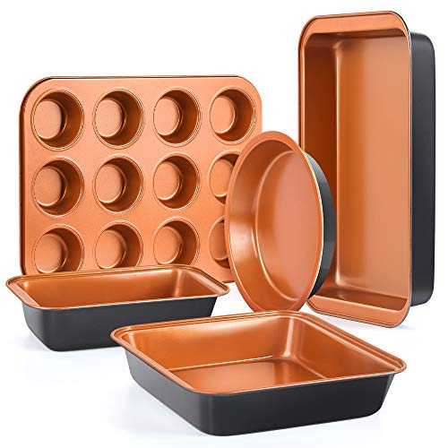SHINEURI 5-Piece Nonstick Copper Bakeware Set - 14.3inch Roast Pan, 13.8inch 12-Cup Muffing Pan, 9.8inch Loaf Pan, 9inch Square Pan & 8.8inch Round Cake Pan - Dishwasher & Oven Safe, PFOA/PTFE Free