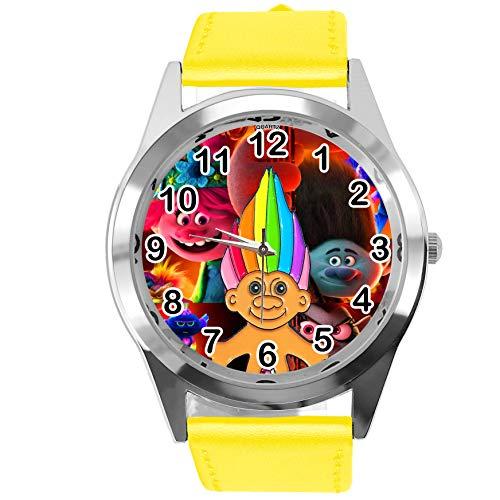 Reloj redondo de cuero amarillo para fans enanos