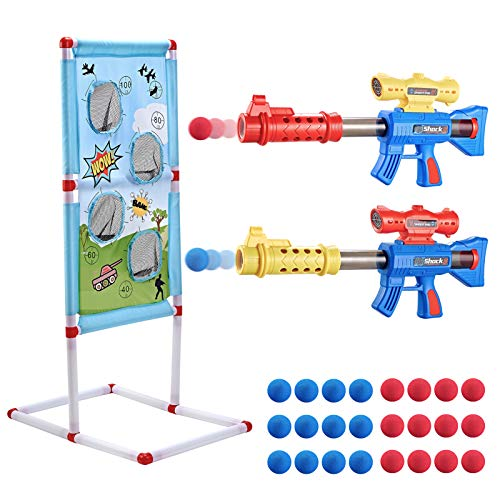 Bubuildup Shooting Game Toy 2 Pack Set Popper Air Guns with 24 Pcs Balls amp Shooting Target Soft Foam Ball Air Blasters Gift for Kids Age 6 7 8 9 Compatible with Nerf Toy Guns