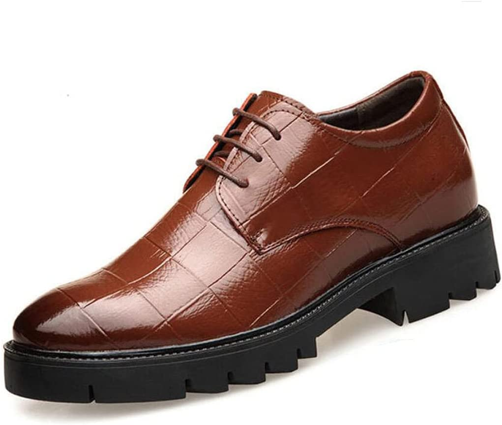 LHRFC 6CM/8CM Classic Men's Genuine Leather Derby Shoes Invisibly Hidden Elevator Insole Height Increasing Shoes Get Taller Brown6cm-EU40