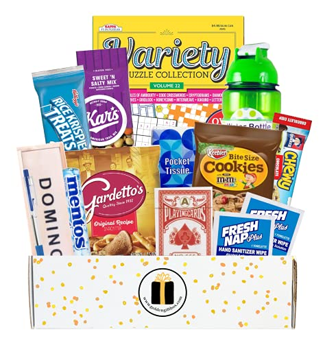 Get Well - Feel Better Soon Gift Care Package - Includes Boredom Busters, Snacks, Water Bottle, More...