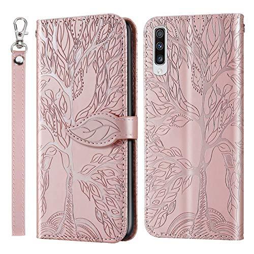 Miagon Prägung Lederhülle für Samsung Galaxy A30S,Handyhülle Tasche Brieftasche Hülle Bookstyle Schutzhülle Flip Case Cover Klapphülle Kartenfächer,Baum Roségold