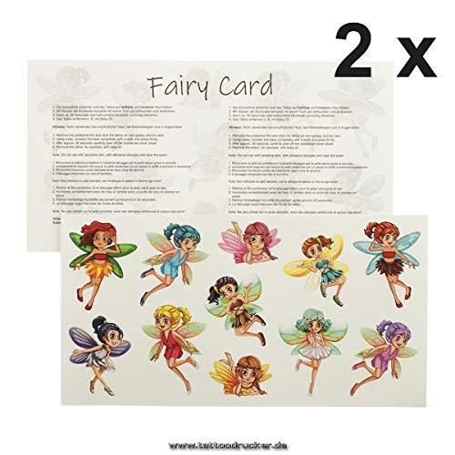 Fairy Tattoo Card - 11 kleurrijke magische feeën - tijdelijke kinderen huid tatoeages