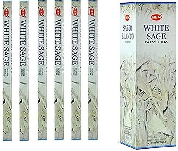 India HEM White Sage Incense 6 Packs X 8 Sticks Wicca Pagan 8 Gm Square Box