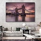 YCHND Skyline Night View Pinturas En Lienzo Viajes Paisaje Cuadros Arte De La Pared Poster E Impresiones De La Ciudad De Londres para La Decoracion De La Salon De Estar 60x90cm Sin Marco
