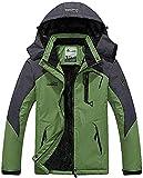 MINHAO Men's Jackets Warm Winter Fleece Moutain Softshell Windproof Jackets with Hood Green