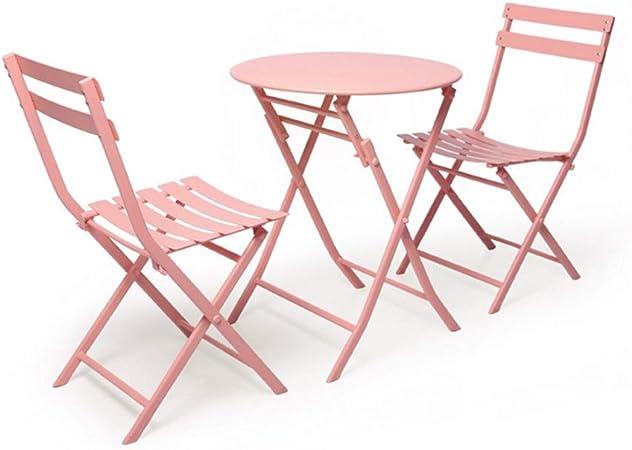 YCSD Jardín Plegable Mesa Y Silla, Metal Al Aire Libre Patio Bistro Muebles De Jardín, Juego De Mesa Y 2 Sillas (Color : Pink): Amazon.es: Hogar