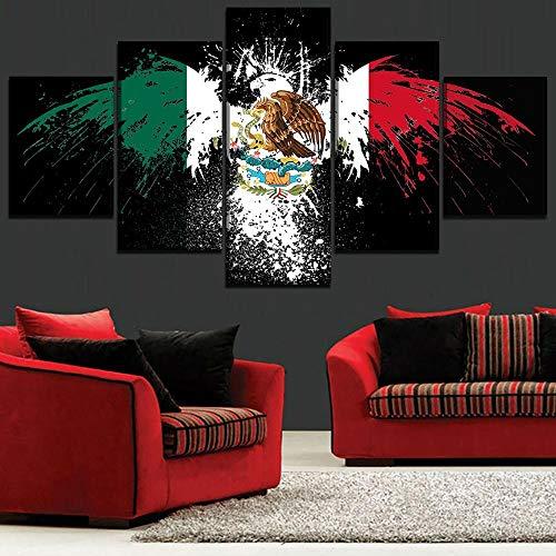 rkmaster-Home Decoration kamerlijst kunst 5 stuks abstracte Mexicaanse vlag afbeelding canvas HD drukgrafiek schilderij modulaire poster wandschilderij | schilderij