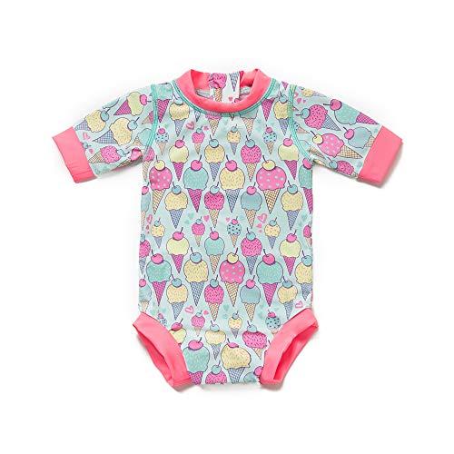 Baby Mädchen One Pieces Badeanzüge UPF 50+ Sonnenschutz Baby- / Kleinkind-Badebekleidungswindeln mit Sonnenkappe (Eiscreme, 18-24)