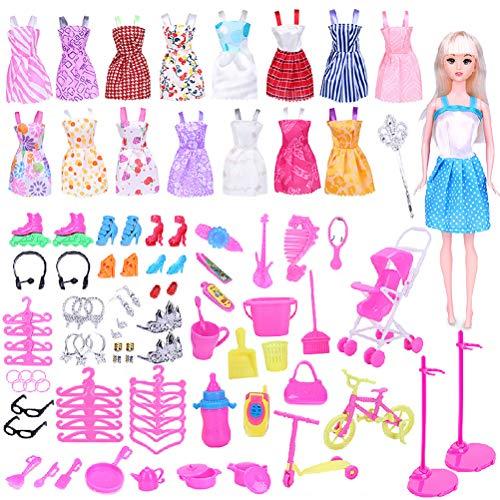 hgni 114 PCS/Conjunto de Accesorios de muñecas Lindas Hermosa Vestido de Vestir Muñeca Tacones Altos Traje (Bicicleta Utensilios de Cocina Botella de Leche Teléfono móvil Teléfono)