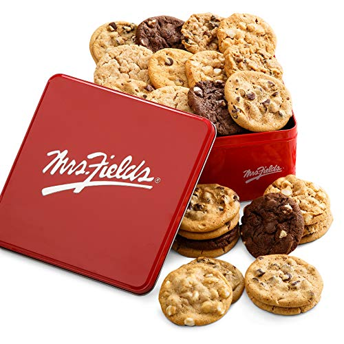 Mrs. Fields Cookies Two Full Dozen Signature Cookie Tin, Includes 5 Different Flavors, 24 Count