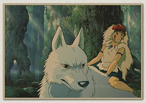 JW-online Los niños de Dibujos Animados Anime Poster La Princesa Mononoke Hayao Miyazaki S Room Decoración Mensaje,17,30x21