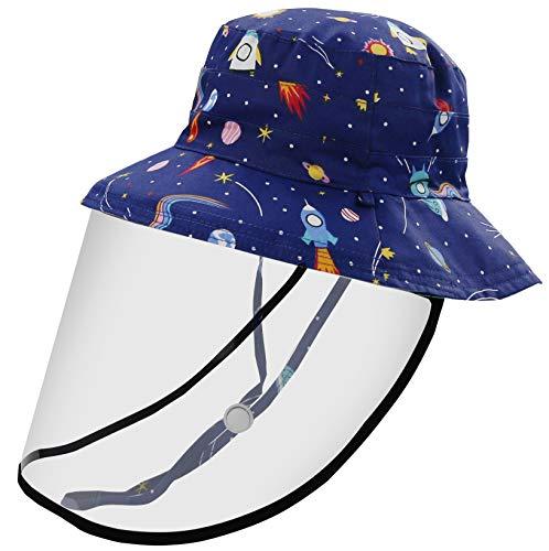 Happy Cherry Cappello Reversibile Bambini Unisex Protezione Intergrale Cappello da Sole Regolabile Collo Protezione Cappelli da Spiaggia UPF 50+ Berretti per Escursionismo Campeggio Viaggio Pesca 50cm