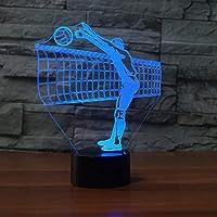 3Dナイトライト3DバレーボールネットナイトライトLEDカラフルなグラデーションタッチボタンデスクランプスポーツ寝室の装飾USBビジョン睡眠照明ギフト-バレーボール