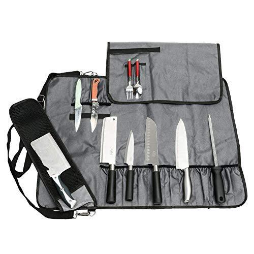 JURONG Bolsa para cuchillos de chef con 17 compartimentos, p