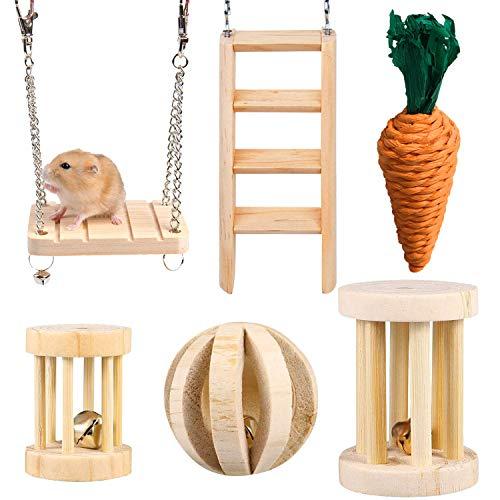 HORYDIA Juguetes para Conejos Pino Natural Molar Juguetes Adecuado para Hamster Conejillo de Indias Chinchilla Conejos Dientes Cuidado.(Juego de 6 Piezas)