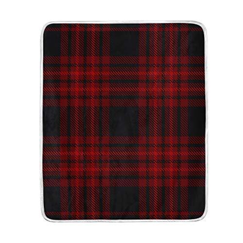 SS Blanket Manta de Cuadros Escoceses pequeños de Color Rojo y Negro, Suave y cómoda, para sofá, Silla, Cama, Oficina, Viajes, Camping, 127 x 152 cm, tamaño de Manta...