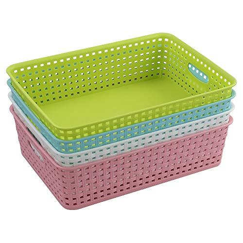 Jekiyo Plastic Paper Tray, Plastic Storage Basket, Set of 4