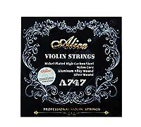 アリスバイオリン弦A747ニッケルメッキ高炭素鋼ナイロンcorアルミ合金巻き銀巻4枚/セット