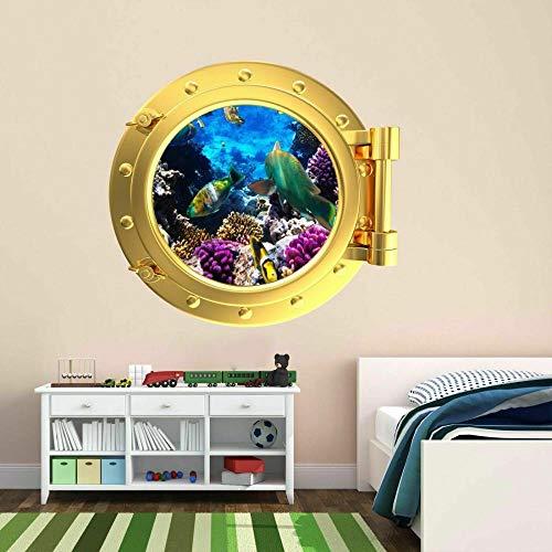 ioljk Pegatinas de Pared 3D Pez Ojo de Buey Pintura Mural calcomanías para niños Dormitorio decoración del hogar50x70cm