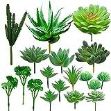 Cayway Suculentas Plantas Artificiales, 18 Pz Verde Suculentas Artificiales Plantas Decorativas Artificiales Surtidas Suculentas para Hogar, Jardín, Interior