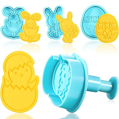 4 Pieces Easter Cookie Cutter Stamps, Easter Egg Bunny and Chick Cookie Stamps, Biscuit Mold Baking Tools for Easter Cake Baking Decoration, Blue