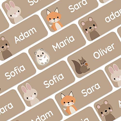 120 Namensaufkleber für Kleidung und andere Dinge - Waldtiere - Braun