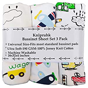Knlpruhk Bassinet Sheets Set 3 Pack Jersey Knit Cotton 190 GSM Ultra Soft and Stretchy for Baby Boy Girl Cute Car Bus Wagen Airplane Leaf Star