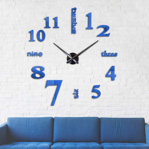 Mirror Surface Decorative Clock 3D DIY Wall Clock for Living Room Bedroom Office Hotel Wall Decoration (Blue)