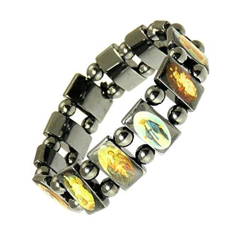 benerini Magnetic Hematite Elasticated Saints Bracelet/Jesus Bracelet/All Saints Bracelet - 113
