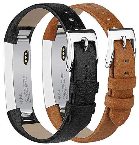 Tobfit Kompatibel mit Fitbit Alta HR Armband, Fitbit Alta Armband Lederarmband Edelstahl Schnalle Ersatzarmbänder für Fitbit Alta und Fitbit Alta HR (Kein Tracker) (Schwarz & Braun)