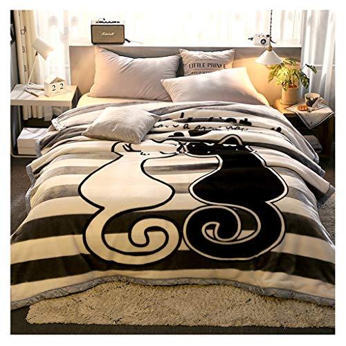 Couverture Corail en Molleton Hiver Épaississement 2 kg Nap Lourd Blanket Simple Chaud Couette Chaude Little (Color : Cat)