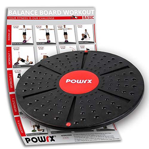POWRX Balance Board Therapie Kreisel inkl. Workout I Wackel Brett Reha Gleichgewicht I 39 cm auswählbar inkl. Kappe (Ohne Kappe)
