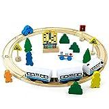 jerryvon Holzspielzeug Track Erste Elektrische Eisenbahn Set Kinder Magnetische Verbindung Eisenbahnserienspielzeug Bateriebetriebene Lokomotive für Kinder ab...