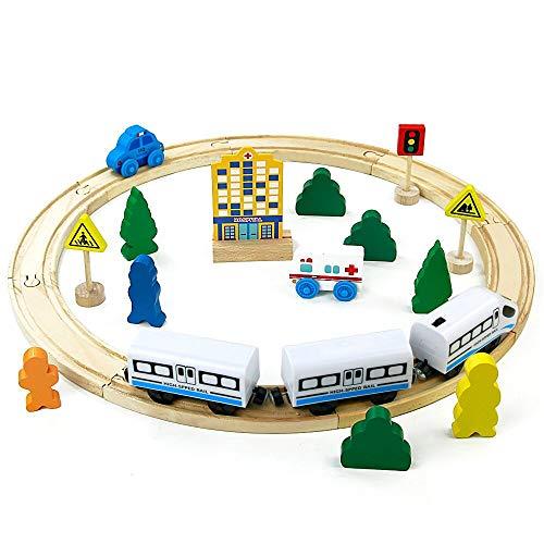 jerryvon Holzspielzeug Track Erste Elektrische Eisenbahn Set Kinder Magnetische Verbindung Eisenbahnserienspielzeug Bateriebetriebene Lokomotive für Kinder ab 3 4 5 Jahre
