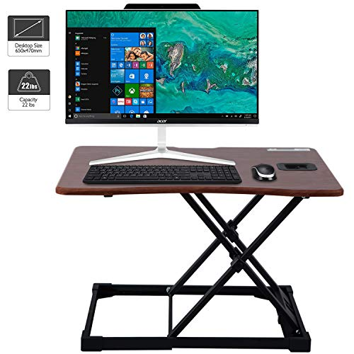WorkGroup Height Adjustable Desk Converter 25.6 inches   Sit Standing Desk Riser Computer Workstation Home Office Tabletop for Monitor and Laptop