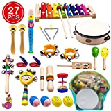 ATDAWN Kids Musical Instruments, 15 Types 22pcs Wood Percussion Xylophone Toys...