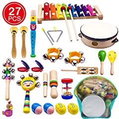 ♬【Ultimate Music Toy Set】- including 15 types 27pcs shaking, tapping, beating and blowing instruments with rhythmic, melodic, and harmonic sounds, comes with a high quality cute backpack for easy clean up and storage, bright colors and different cute...