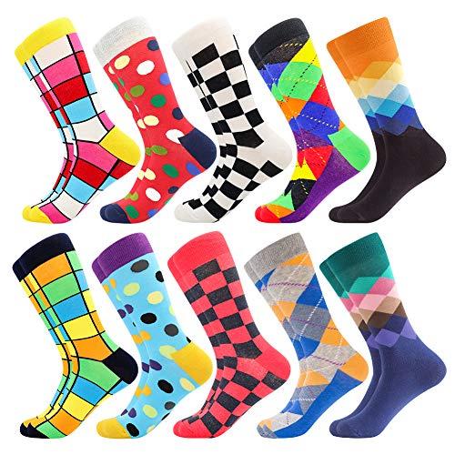 Herren witzige Strümpfe, Herren Bunte Lustige Socken, Fun Gemusterte Muster Socken, Verrückte Socken Modische Mehrfarbig Klassisch als Geschenk, Neuheit Sneaker Crew Socken (10 Paar-Pattern19)