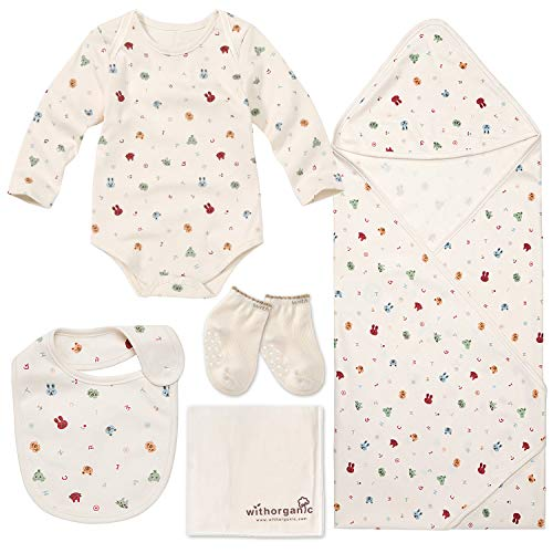 WithOrganic Premium Newborn Layette Gift Set - 5 Pieces | 100% Certified Organic Cotton for Baby Boy or Girl_ Animal Face