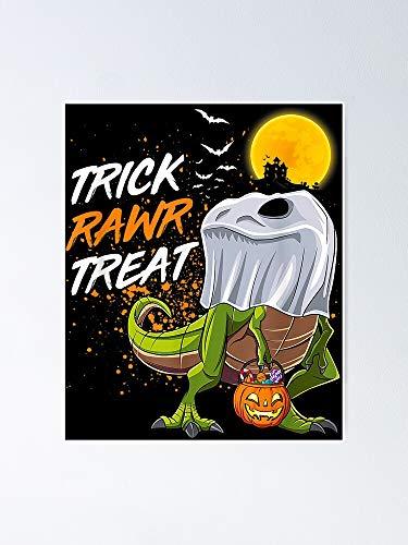AZSTEEL Trick Rawr Treat dinosaurio fantasma Halloween disfraz póster